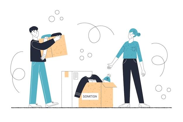 Иллюстрация пожертвования плоской одежды