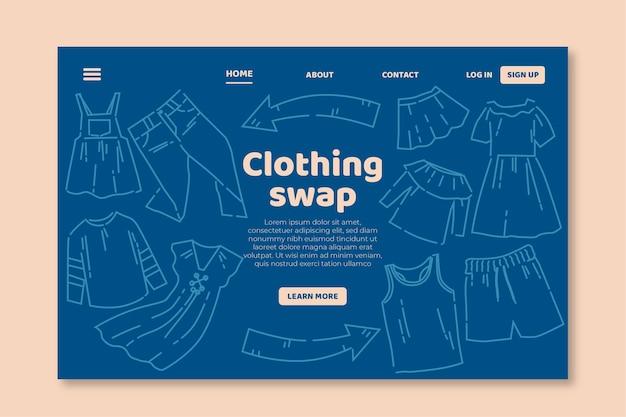 Плоский веб-шаблон обмена одеждой