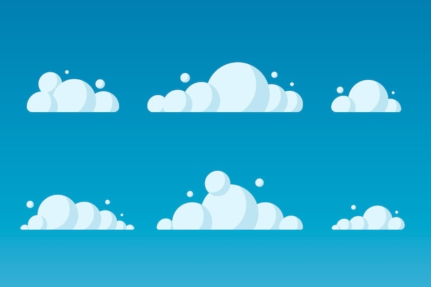 Illustrazione della collezione di nuvole piatte