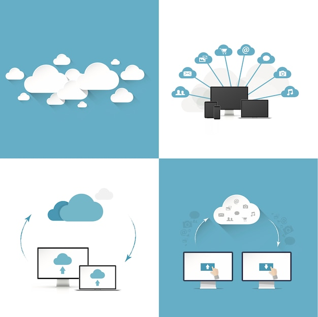 Flat cloud computing vector illustration templates set of four different styles