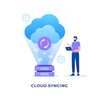 Концепция синхронизации плоского облака.