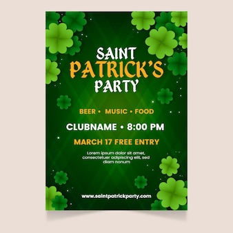 Flat clovers st. patrick's day flyer template
