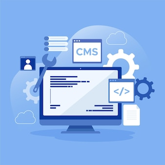 Flat cms concept in blue shades