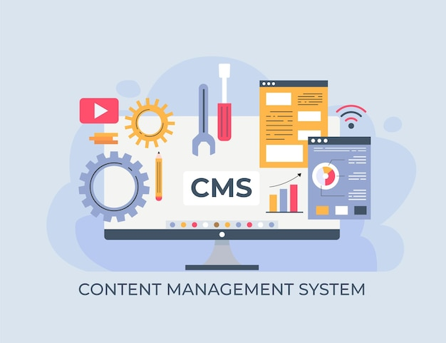 Flat cms concept illustration