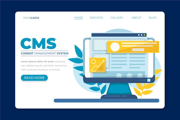 Flat cms concept landing page illustrated