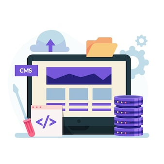 Flat cms concept with computer