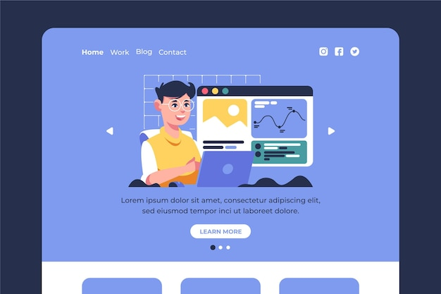 Flat cms landing page template