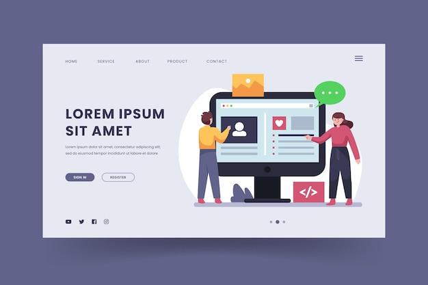 Modello web piatto cms