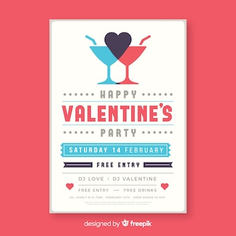 Flat cocktail valentine party poster
