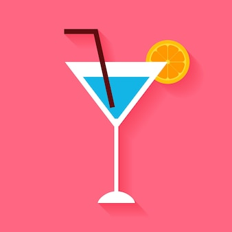 Flat cocktail with orange slice and tubule. vector illustration of alcohol drink