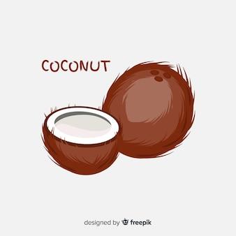 Flat coconut illustration