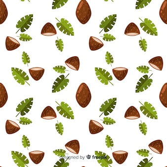 Flat coconut and leaves pattern