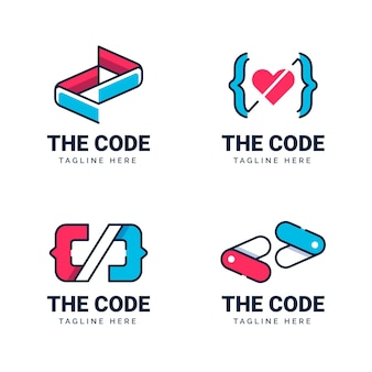 Flat code logo collection