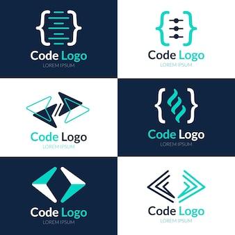 Collezione di logo di codice piatto