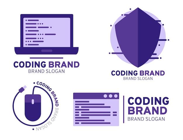 Collezione di modelli di logo di codice piatto