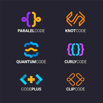 Flat code logo template collection