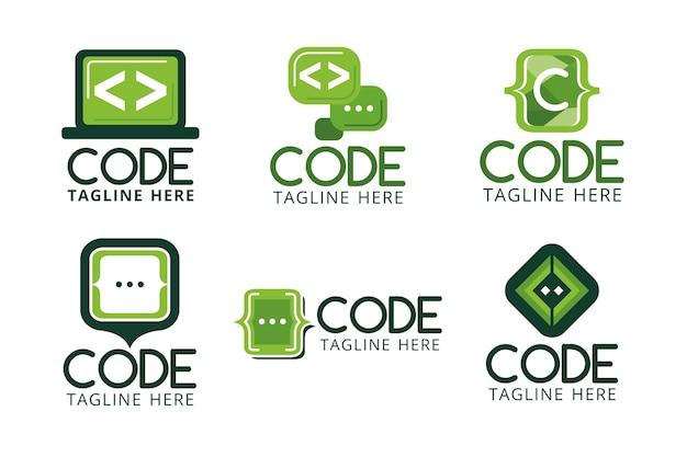 Flat code logos collection