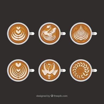 Collezione di tazze da caffè piatte con vista dall'alto
