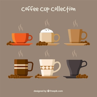 Flat coffee cup collection