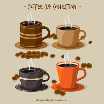 Коллекция чашек с чашкой кофе