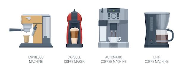 フラットコーヒーメーカーセット。自動コーヒーマシン、エスプレッソマシン、カプセルコーヒーメーカー、ドリップコーヒーマシン。図。コレクション
