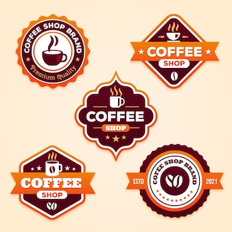 Flat coffee shop badge collection