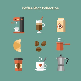 Flat coffee shop icon collection