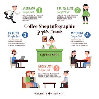 플랫 커피 숍 infographic 템플릿