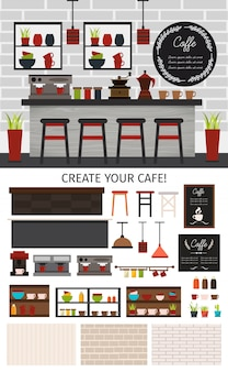 Flat coffee shop interior composition with counter chairs lamps store shelves plants and walls isolated