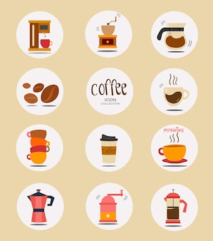 Flat coffee stuff icon collection