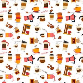 Flat coffee stuff pattern seamless