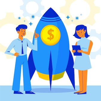 ビジネスプロジェクトを開始するフラットな同僚 無料ベクター