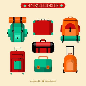 Flat collection of backpacks and suitcases