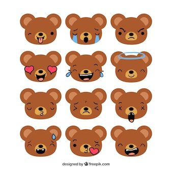 Flat collection of bear emoticons