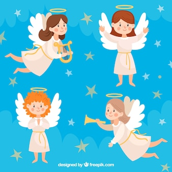 Flat collection of christmas angels