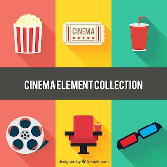 Flat collection of colorful cinema items