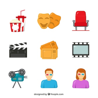 Flat collection of colorful theater items