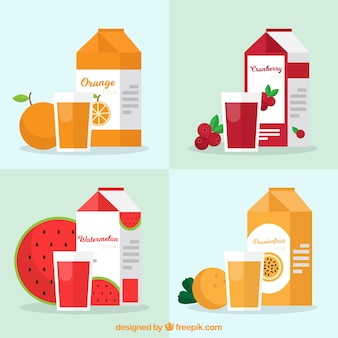 Flat collection of containers with fruit juices