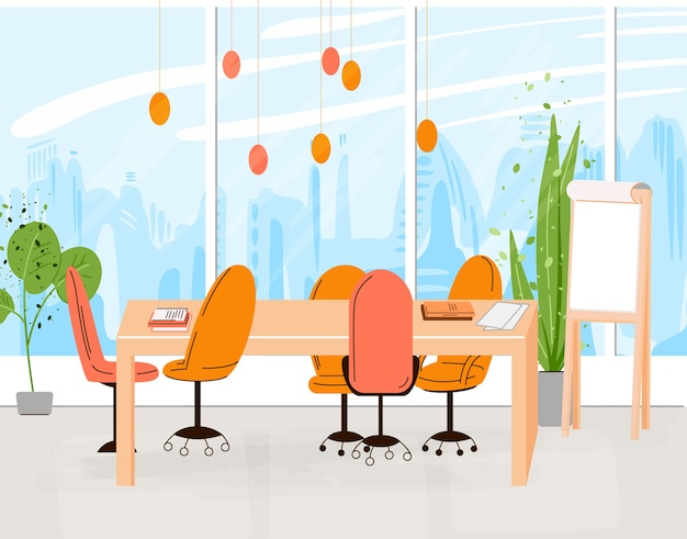 Flat collection of creative workplace with modern open space and empty office interior - business and contemporary co-working illustraton. flat horizontal composition.