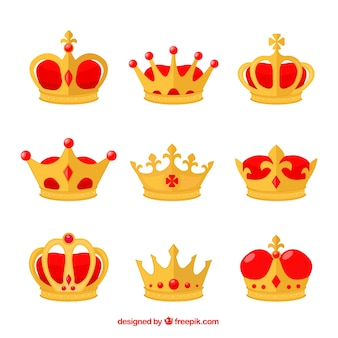 Flat collection of crowns with red elements