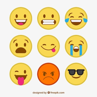 Flat collection of decorative emoticons