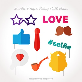 Flat collection of elements for photo booth