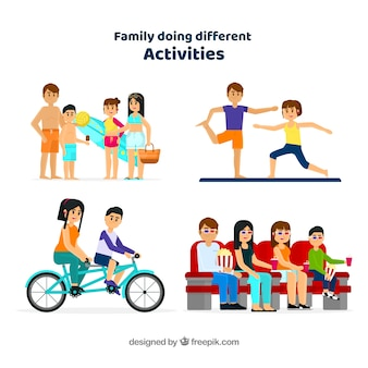 Flat collection of family doing different activities