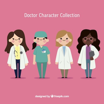 Flat collection of female doctors