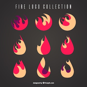 Flat collection of fire logos
