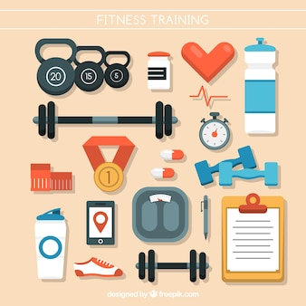 Flat collection of fitness items