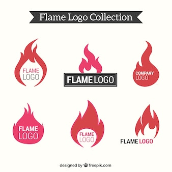 Flat collection of flame logos