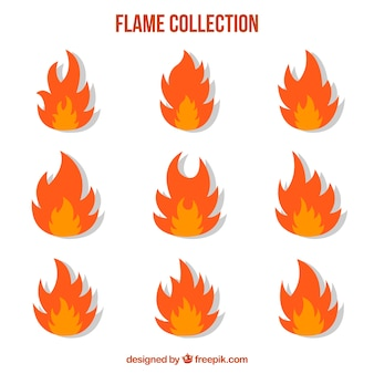 Flat collection of flames in two colors
