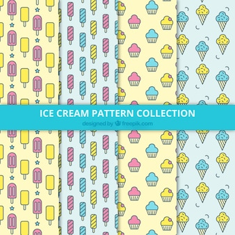 Flat collection of four patterns with delicious ice creams