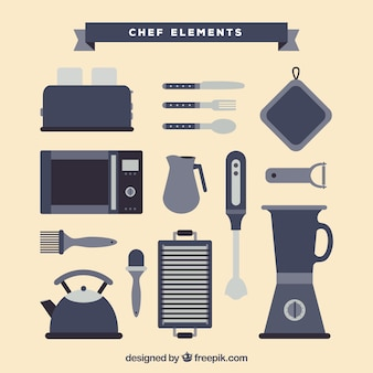 Flat collection of great chef items